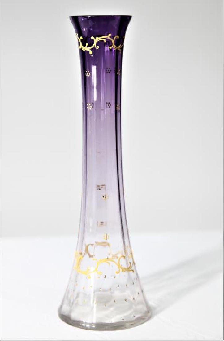 Vase, amethyst shading to clear, Moser-type