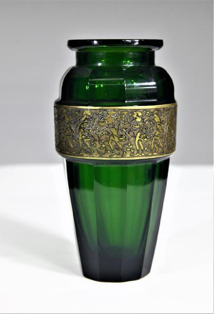 (1) Tapered emerald green vase