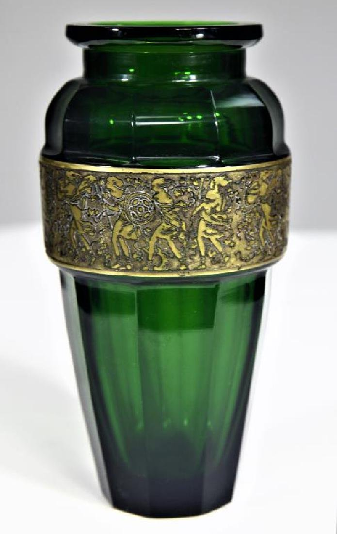 (1) Tapered emerald green vase - 3