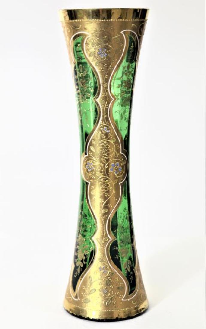 (1) Tall emerald green vase