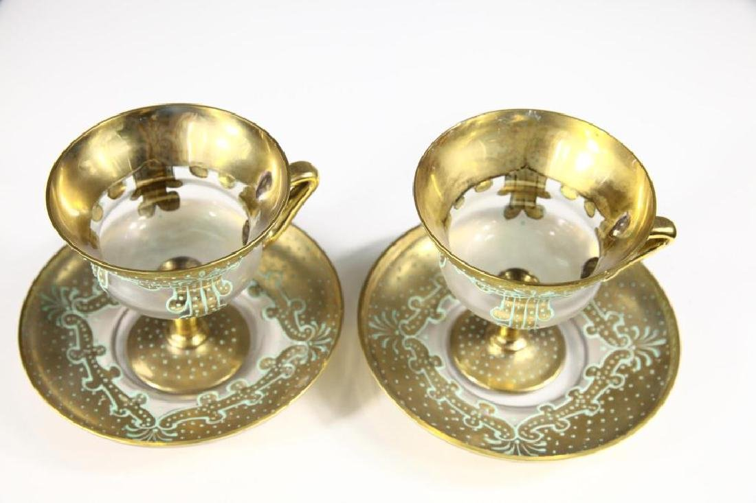 Pair of cups and saucers, Moser-type - 4
