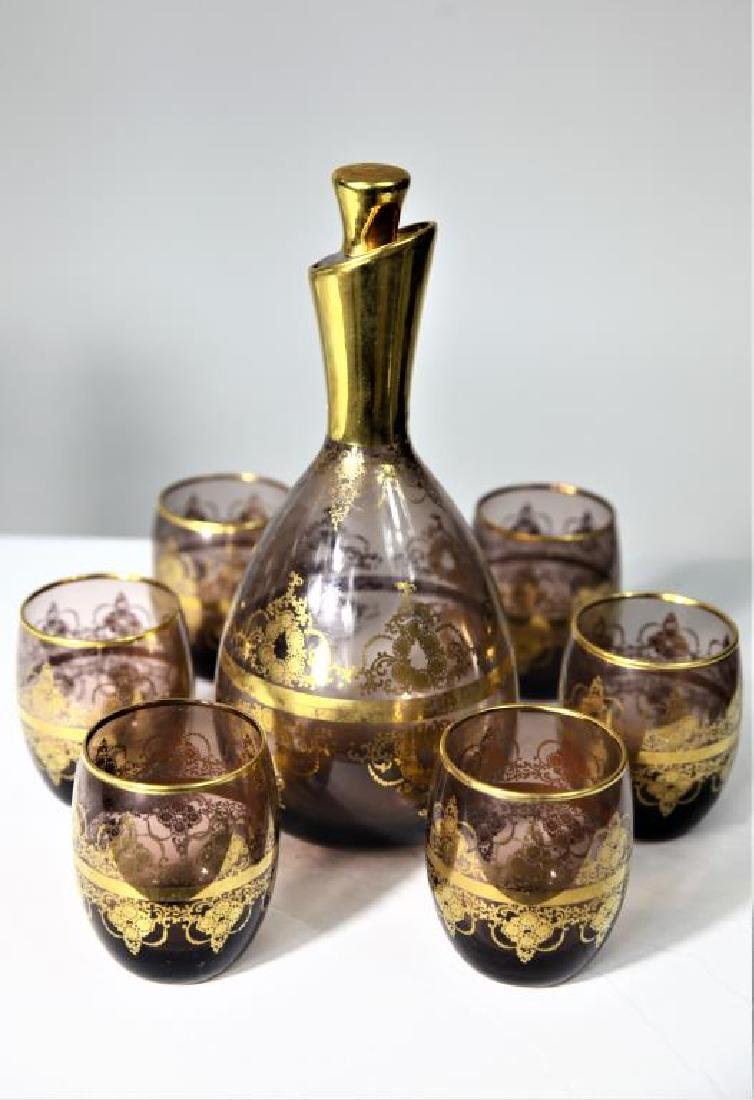 Amethyst decanter set with six (6) glasses