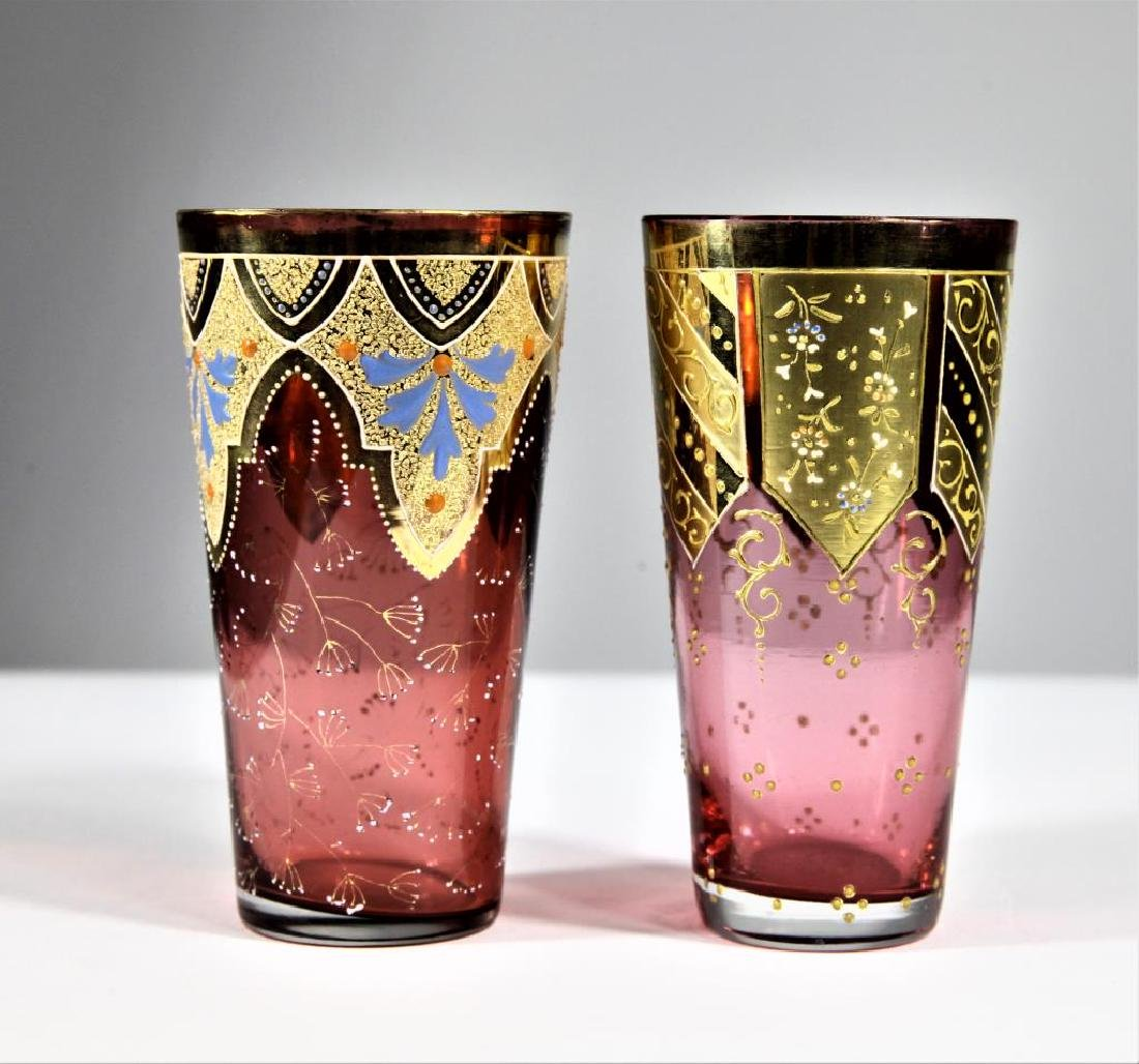 Two (2) cranberry tumblers