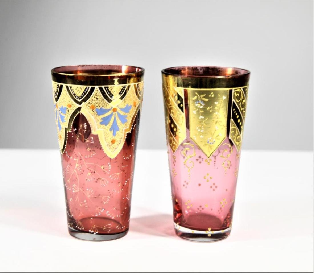 Two (2) cranberry tumblers - 2