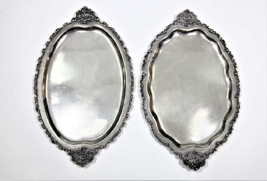 Pair of Cast Silver Antique Trays 800