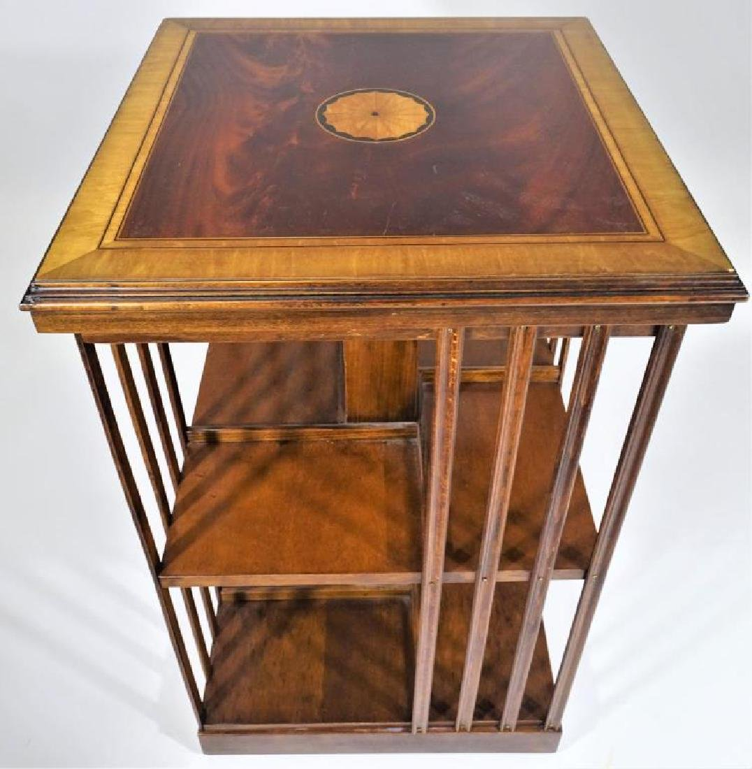 Carved English Edwardian Rotating Bookshelf with Inlay