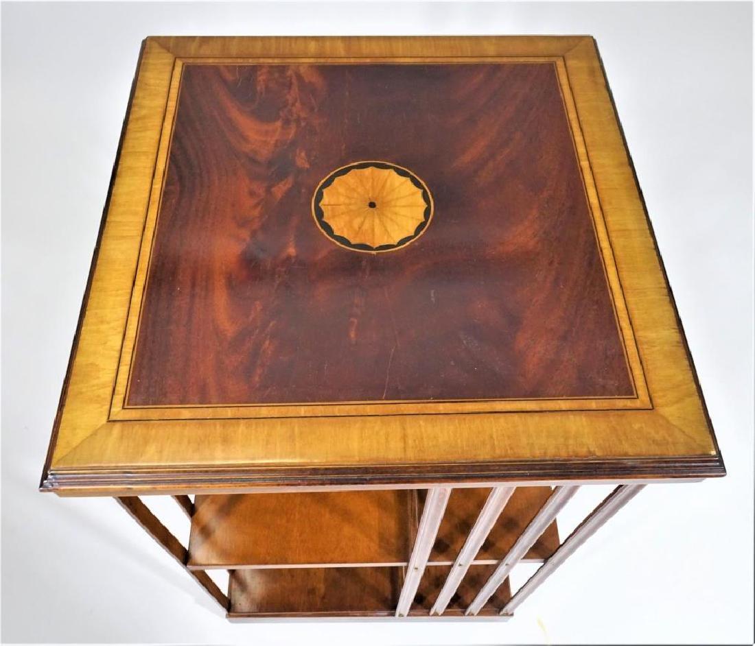 Carved English Edwardian Rotating Bookshelf with Inlay - 2