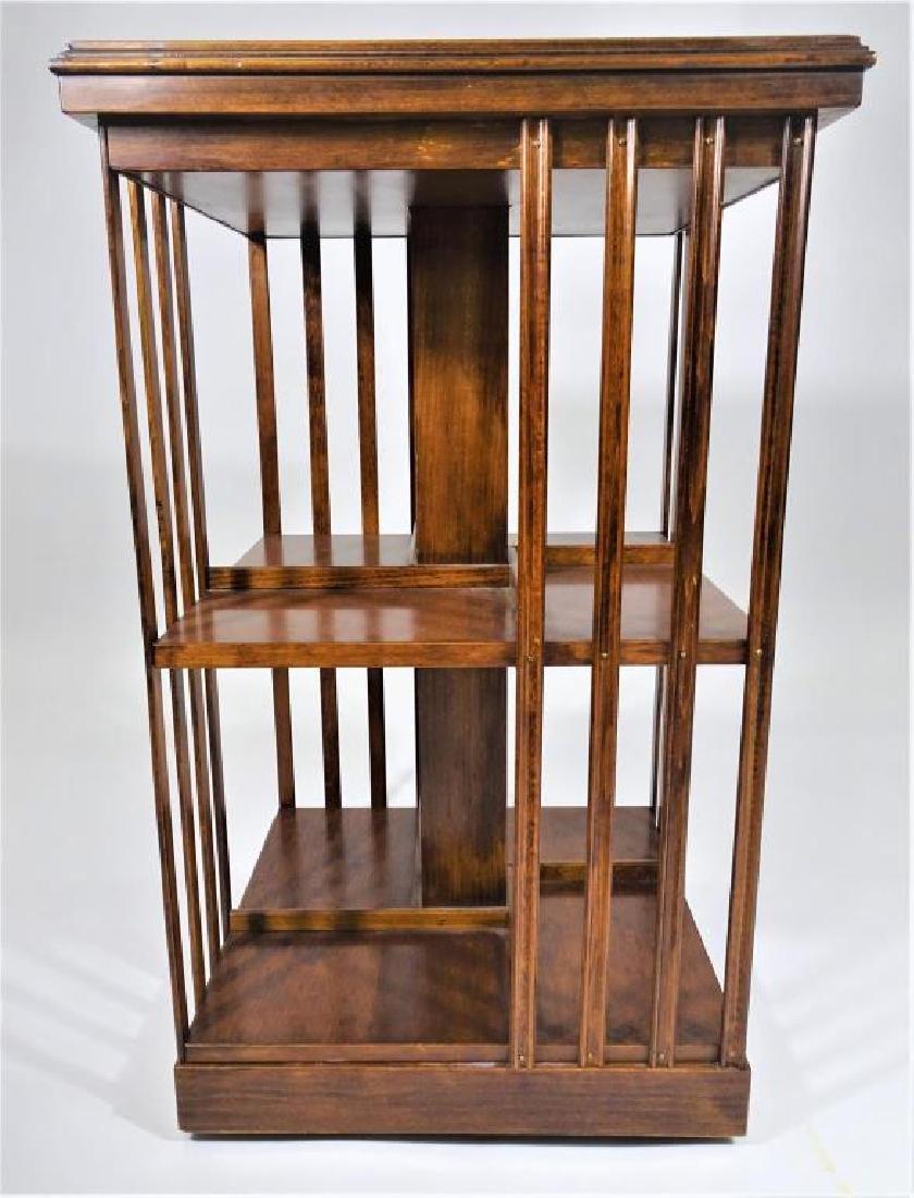 Carved English Edwardian Rotating Bookshelf with Inlay - 3