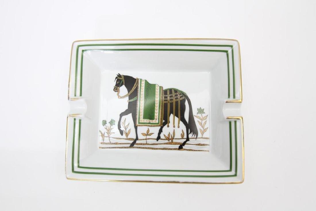 Hermes Paris Gilt Rimmed Ashtray, Horse Scene