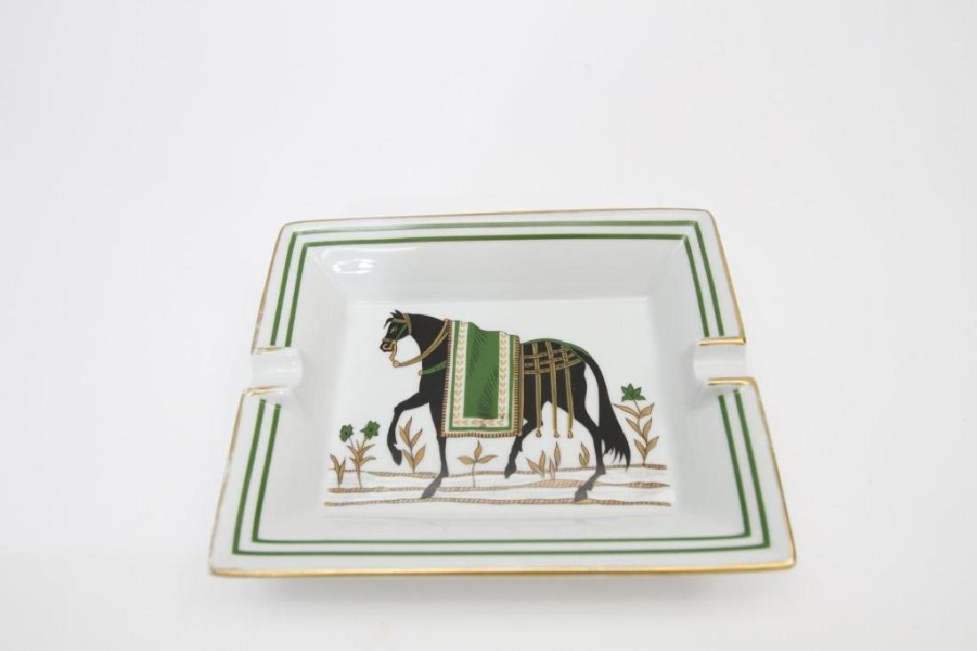 Hermes Paris Gilt Rimmed Ashtray, Horse Scene - 2