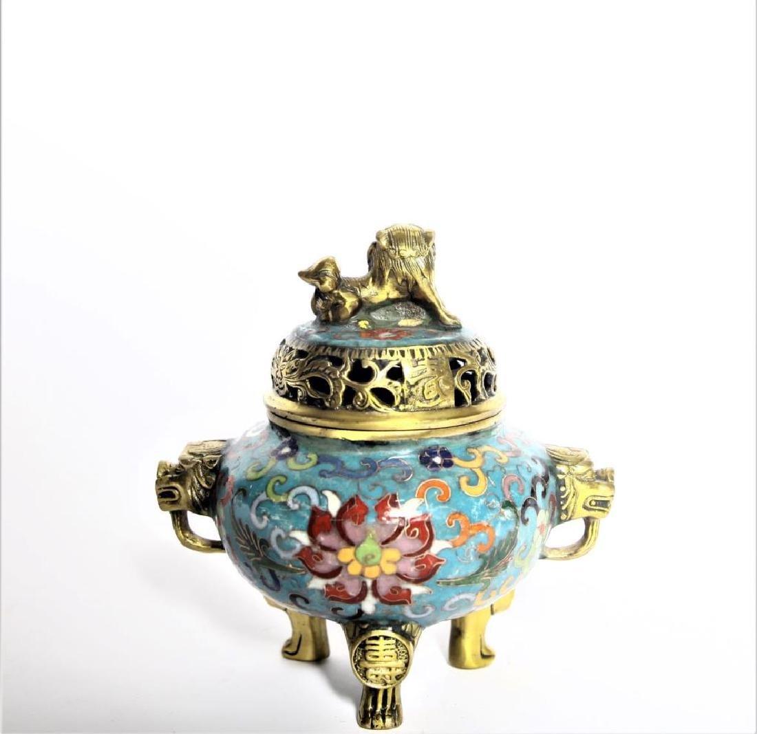 Chinese Cloisonne Incense Burner - 5