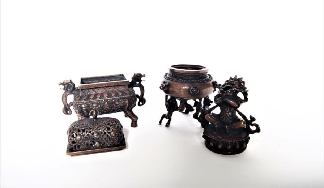 Set of Chinese Bronze Incense Burners - 3