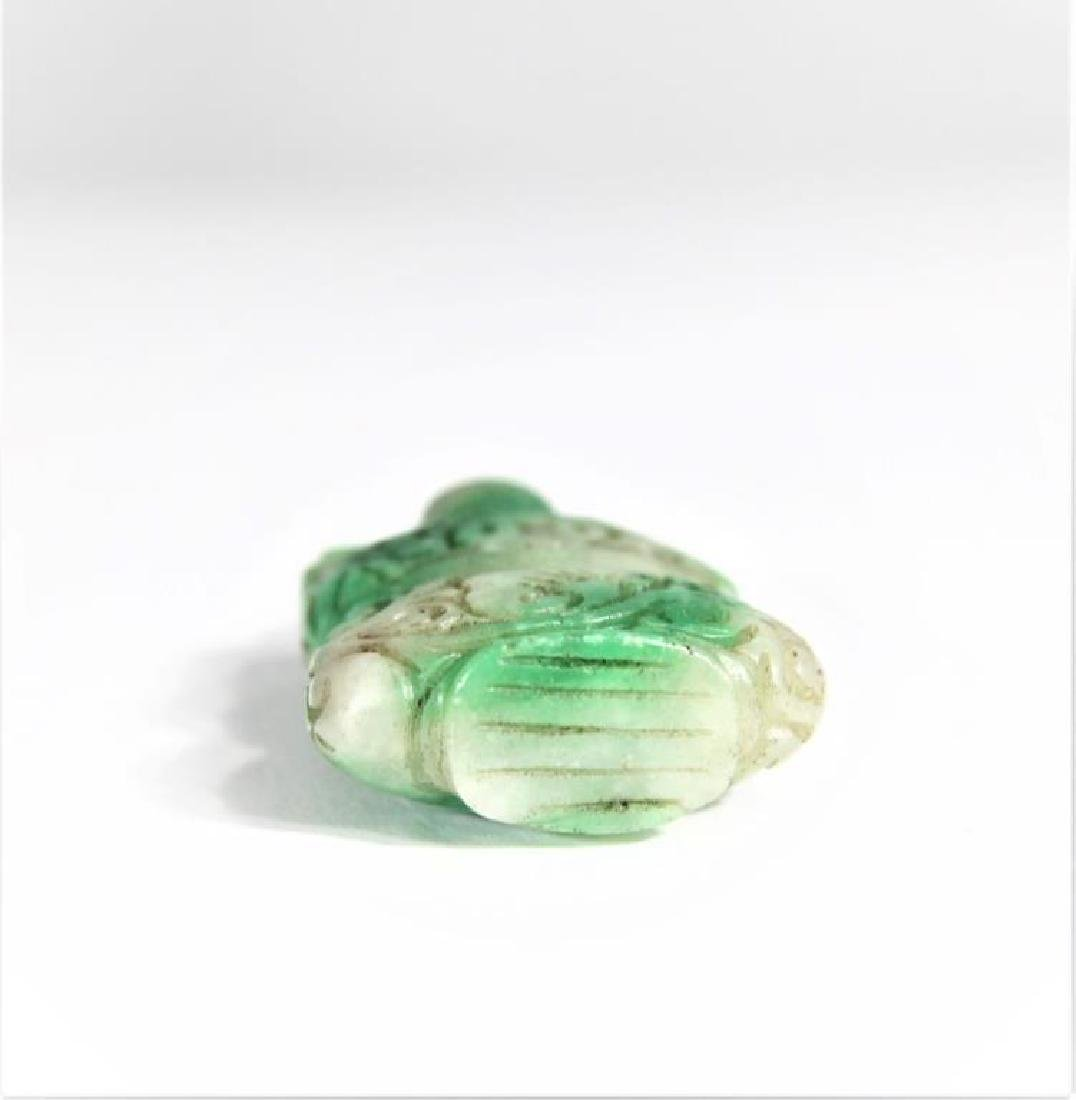 Carved Green Stone Snuff Bottle - 4