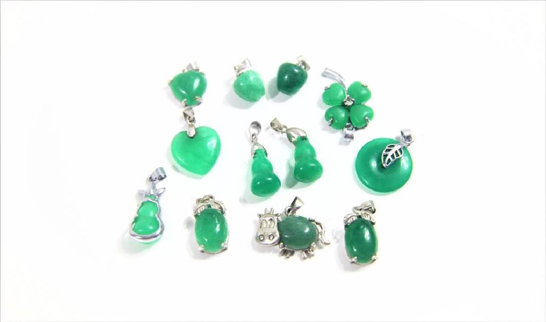 (12) Mini Jewelry Pendants with Inset Green Stone