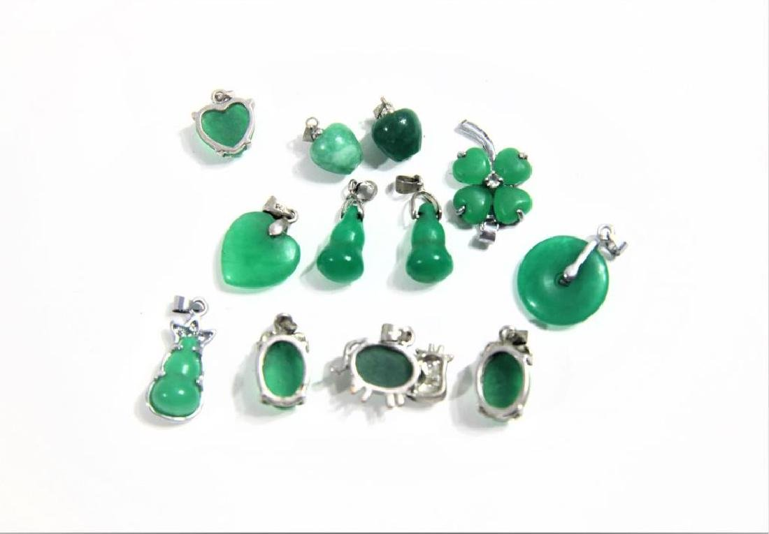 (12) Mini Jewelry Pendants with Inset Green Stone - 2