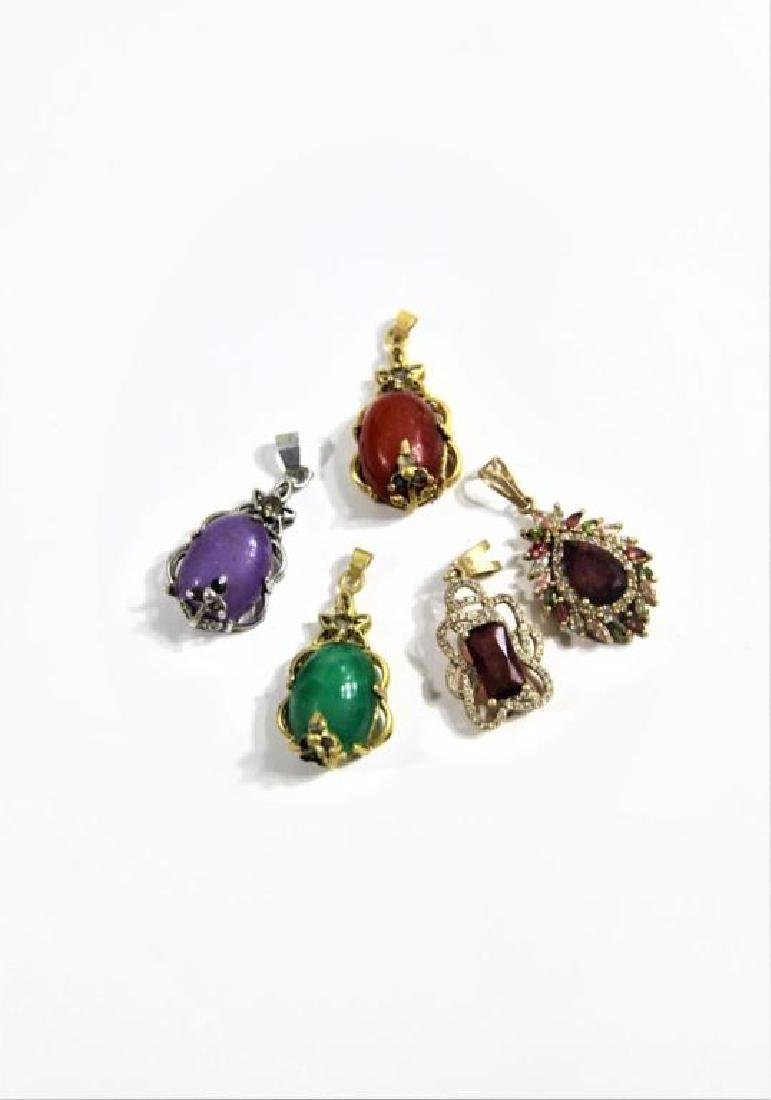 (5) Jewelry Pendants with Colored Stone Insets