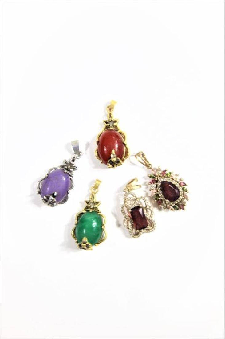 (5) Jewelry Pendants with Colored Stone Insets - 2