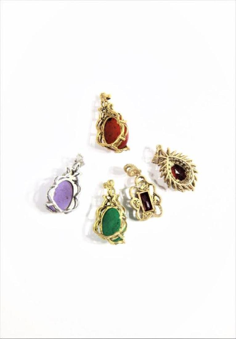 (5) Jewelry Pendants with Colored Stone Insets - 3