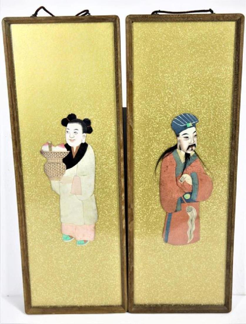 Pair of Framed Chinese Figures