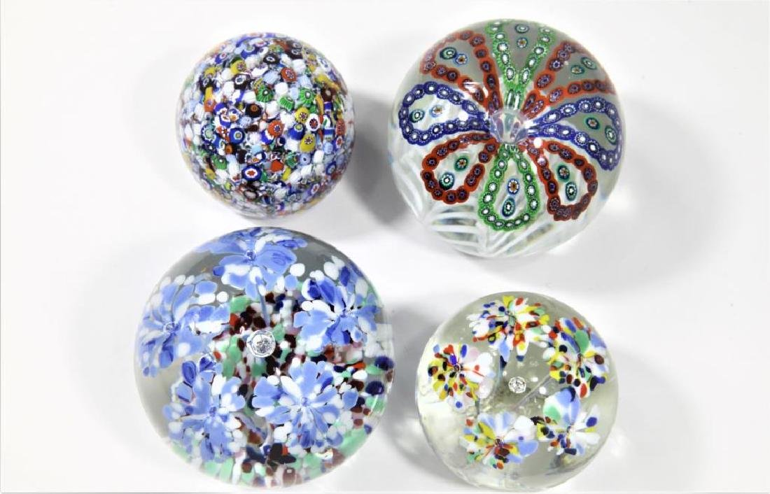 Four (4) Gentile Glass paperweights