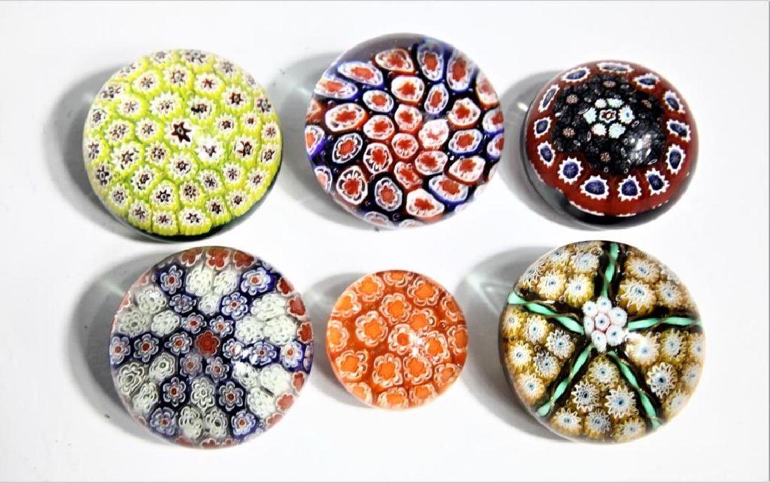 Six (6) Murano-style paperweights
