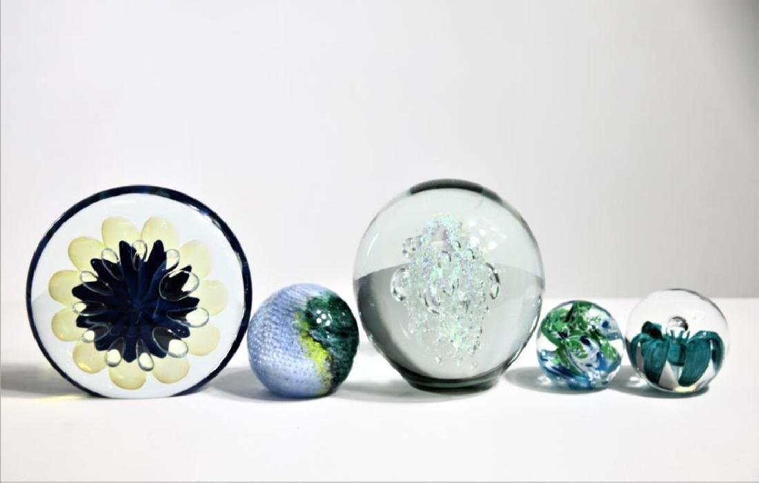 Five (5) Murano-style paperweights