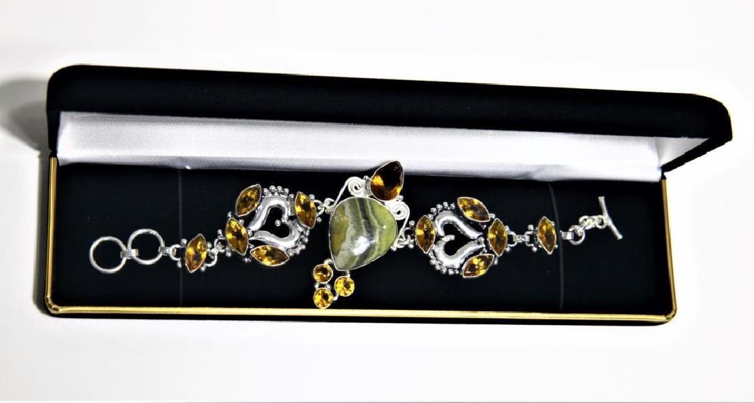 Sterling Silver Citrine Agate Bracelet