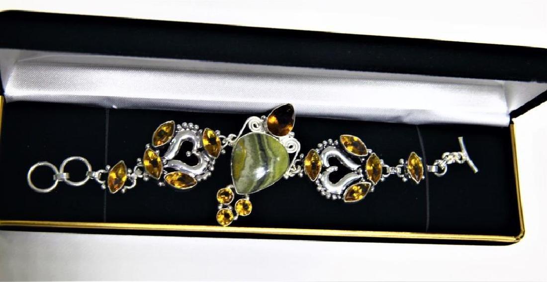 Sterling Silver Citrine Agate Bracelet - 2