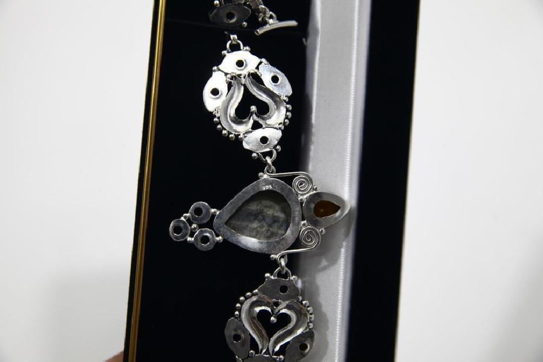 Sterling Silver Citrine Agate Bracelet - 4