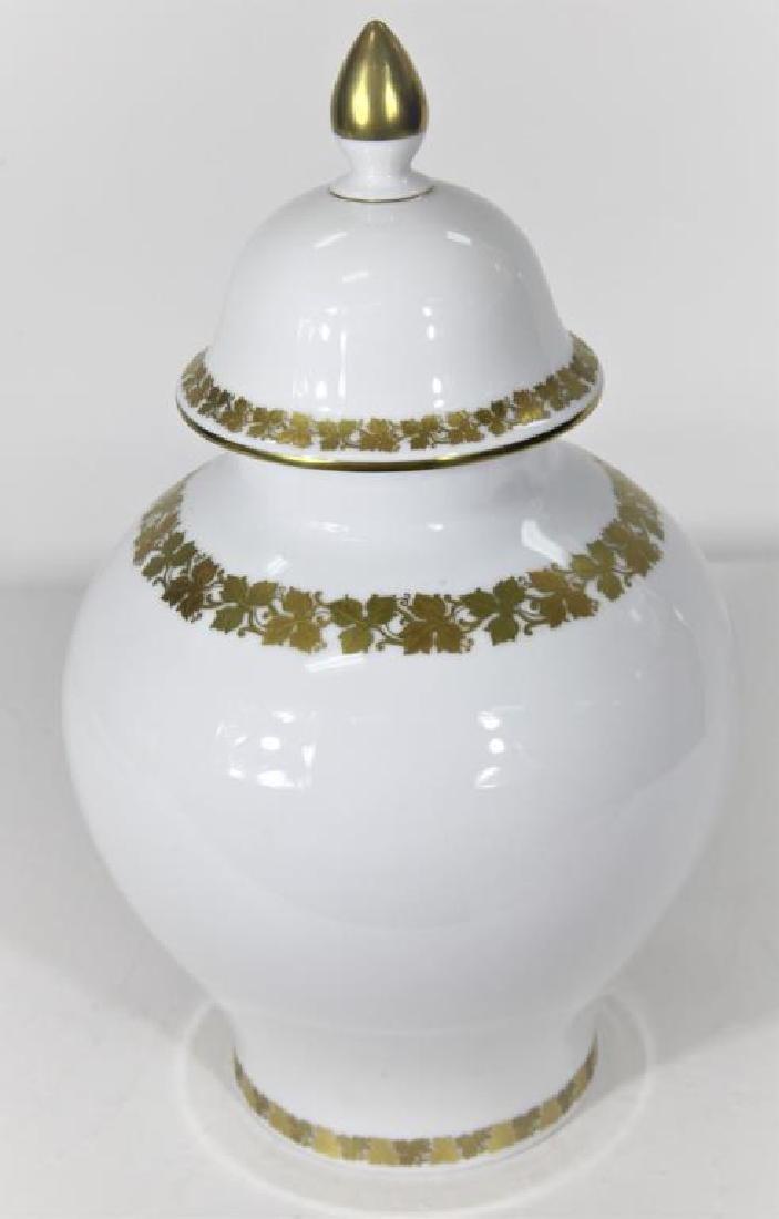 Kaiser German Porcelain Gilt trimmed Jar + Cover
