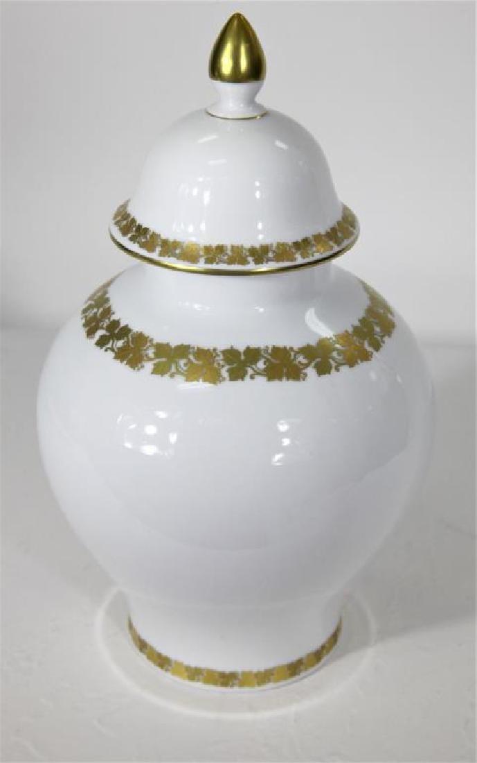 Kaiser German Porcelain Gilt trimmed Jar + Cover - 3