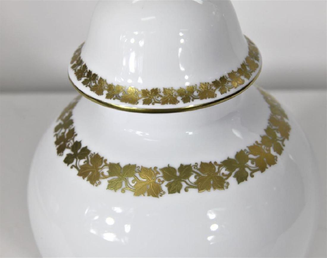 Kaiser German Porcelain Gilt trimmed Jar + Cover - 4