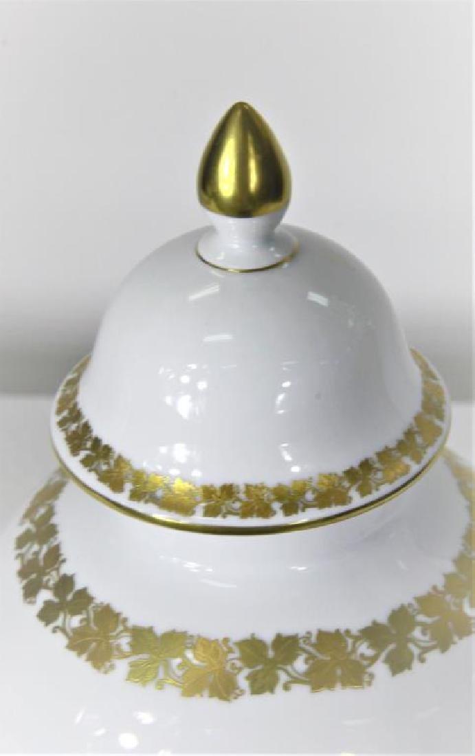 Kaiser German Porcelain Gilt trimmed Jar + Cover - 5