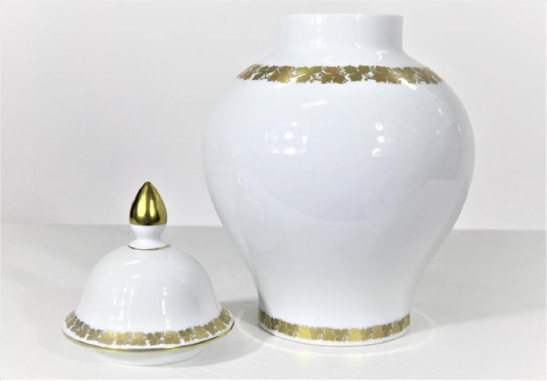 Kaiser German Porcelain Gilt trimmed Jar + Cover - 6