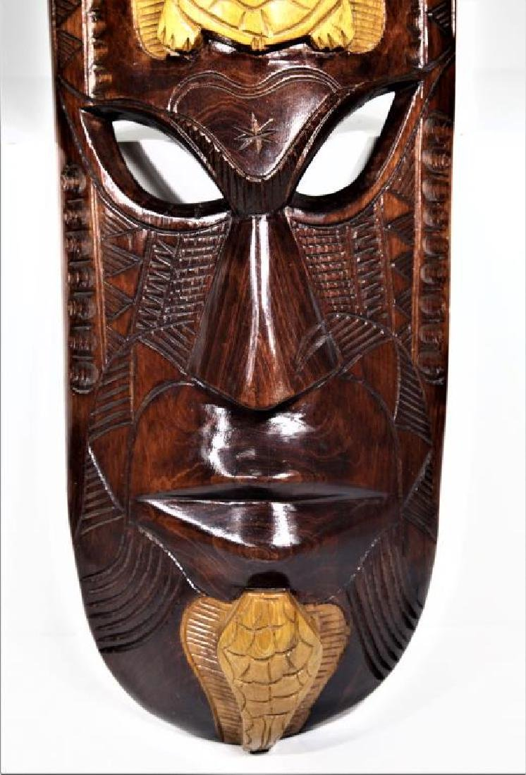 Hand Carved Wood Polynesian Fijian Tribal Mask - 3