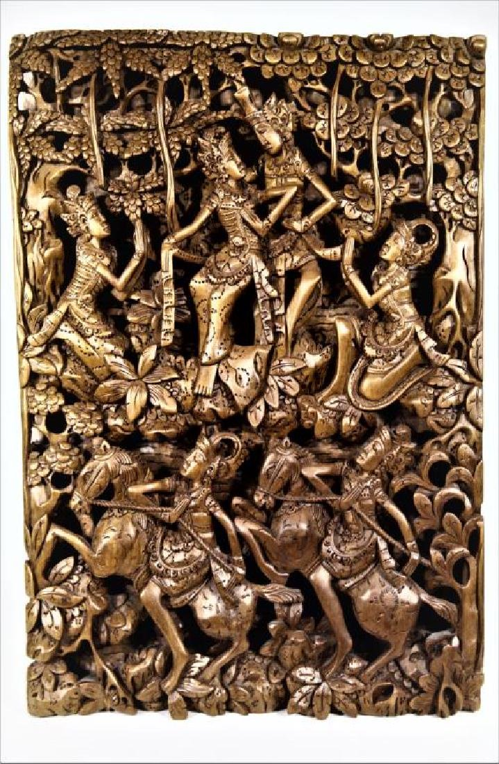 Gilt Painted Wooden Architectural Panel