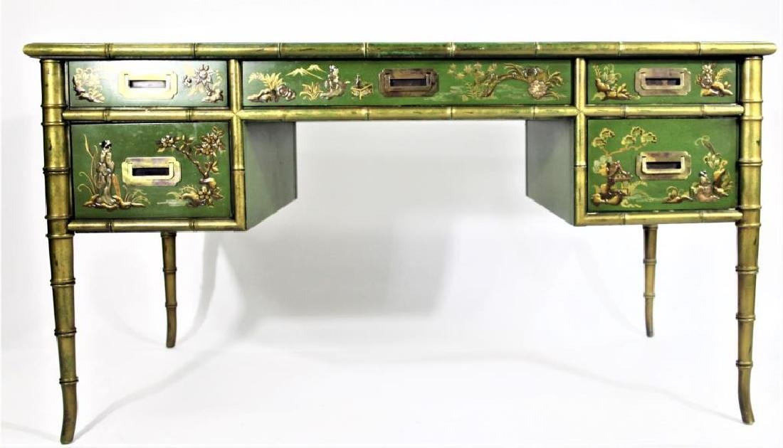 Green Chinoiserie Decorated Desk with Leather Top