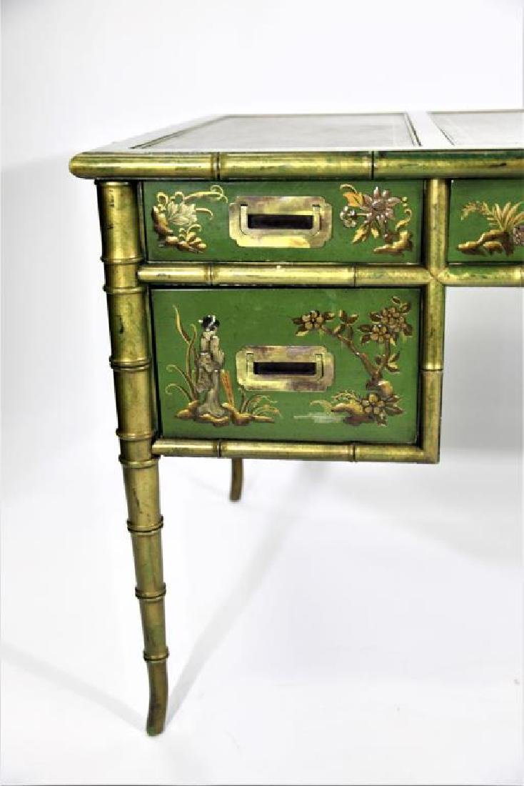 Green Chinoiserie Decorated Desk with Leather Top - 2