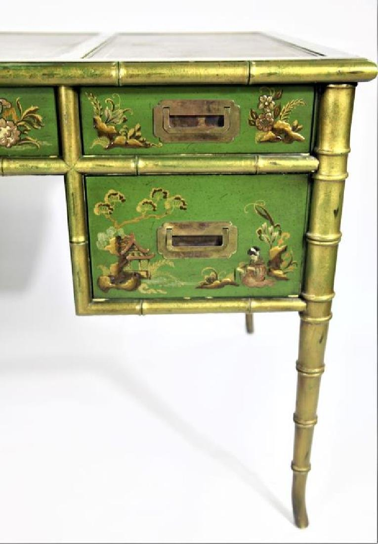 Green Chinoiserie Decorated Desk with Leather Top - 3