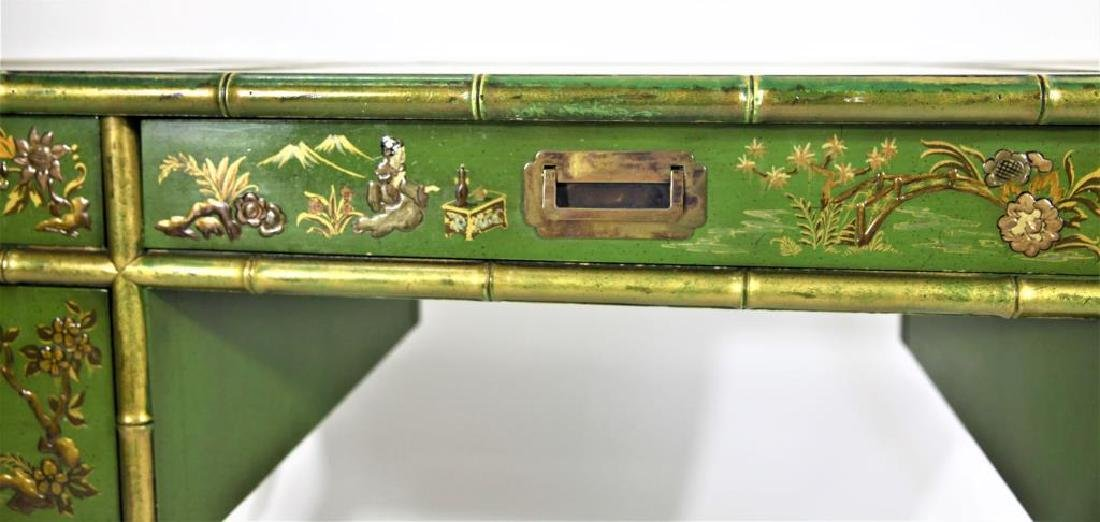 Green Chinoiserie Decorated Desk with Leather Top - 4