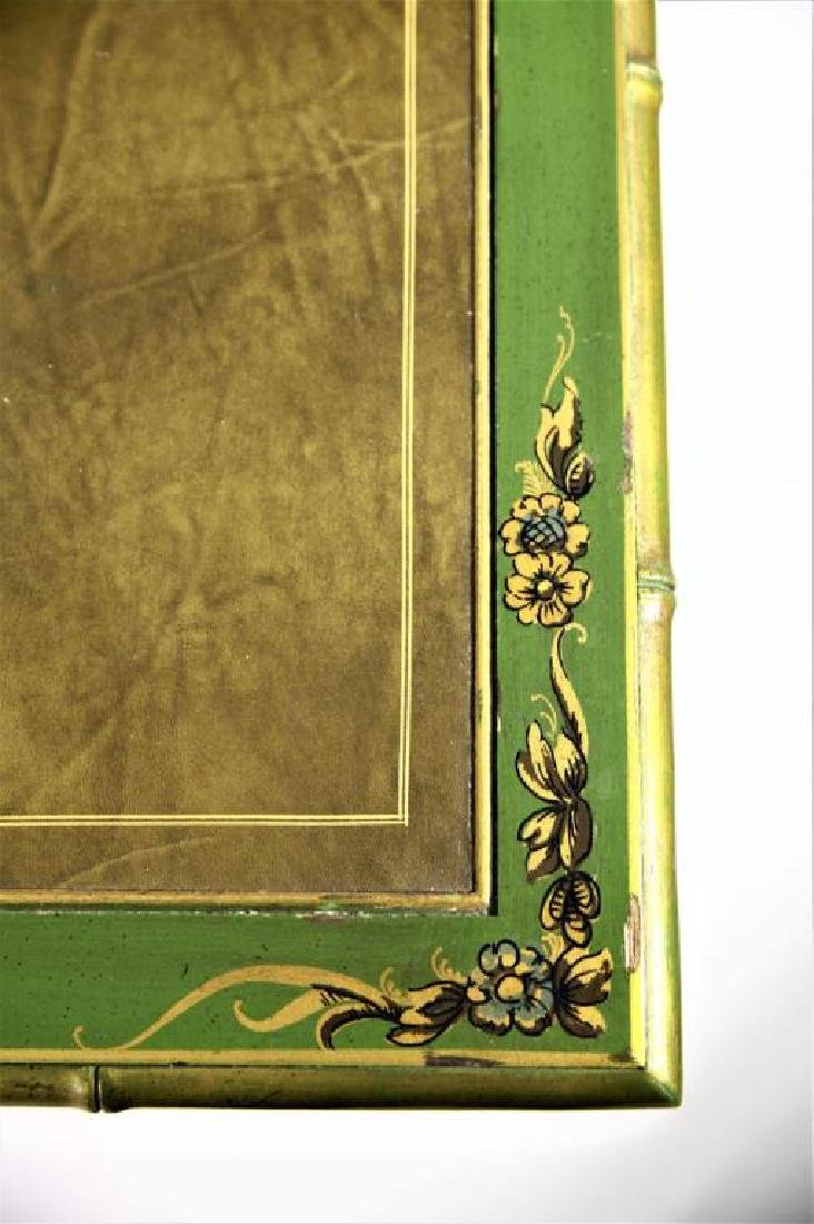 Green Chinoiserie Decorated Desk with Leather Top - 5