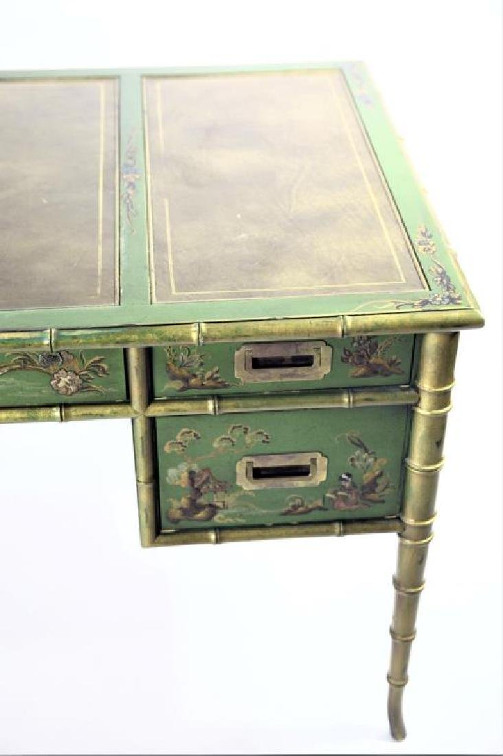 Green Chinoiserie Decorated Desk with Leather Top - 6