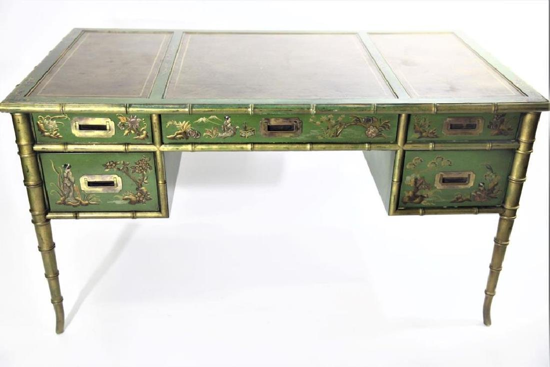 Green Chinoiserie Decorated Desk with Leather Top - 7