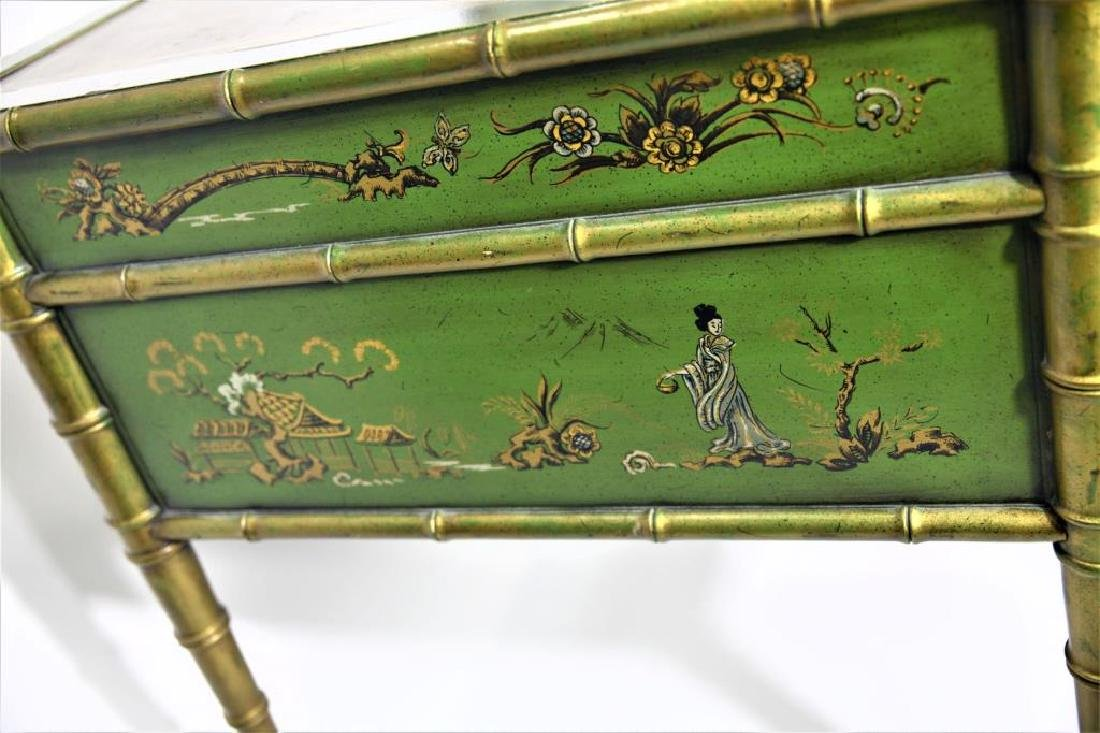 Green Chinoiserie Decorated Desk with Leather Top - 8