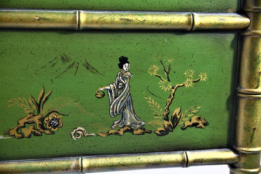 Green Chinoiserie Decorated Desk with Leather Top - 9