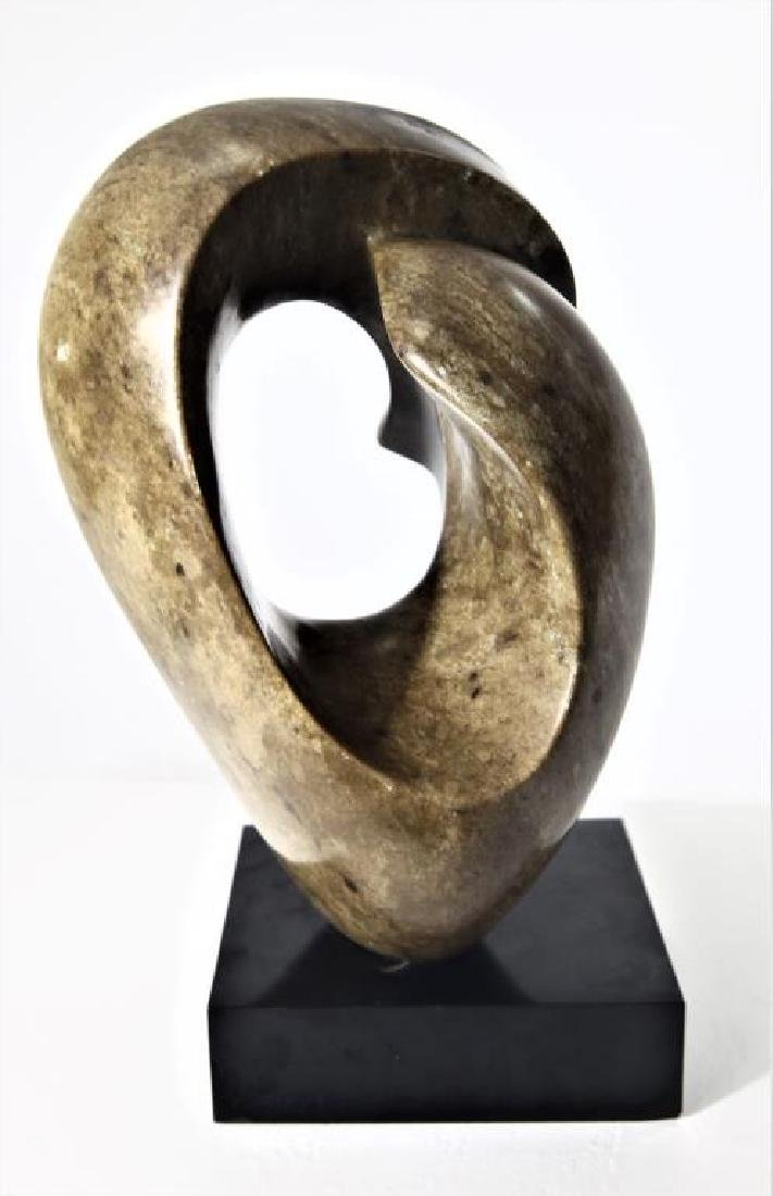 Carved Abstract Stone Sculpture on Base