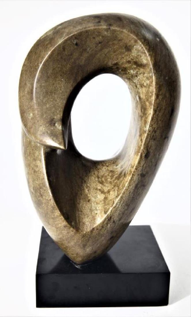 Carved Abstract Stone Sculpture on Base - 3