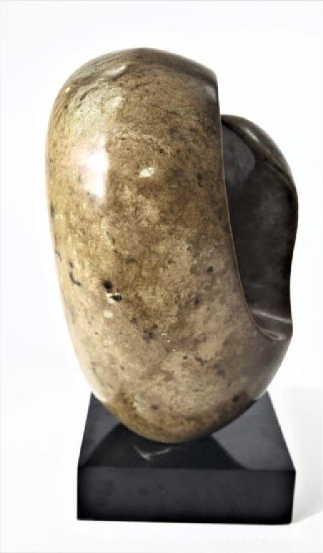 Carved Abstract Stone Sculpture on Base - 4