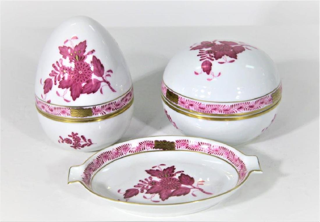 (3) Hand Painted Herend Hungary Oval Dishes