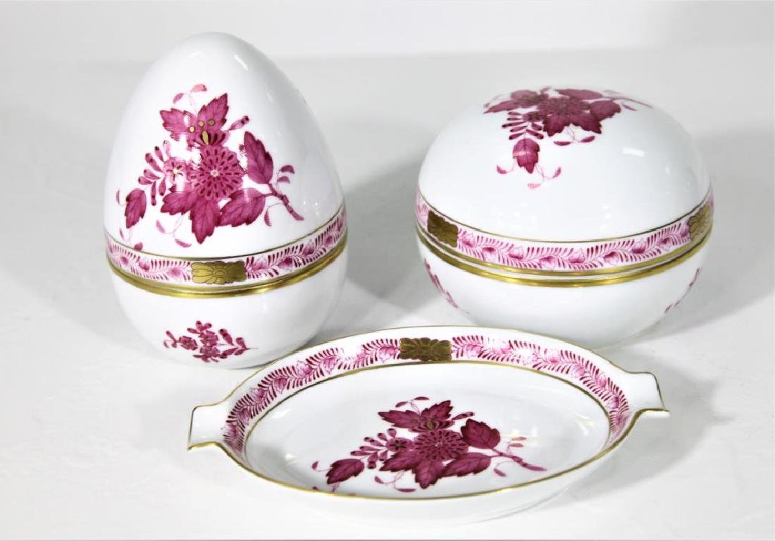 (3) Hand Painted Herend Hungary Oval Dishes - 2